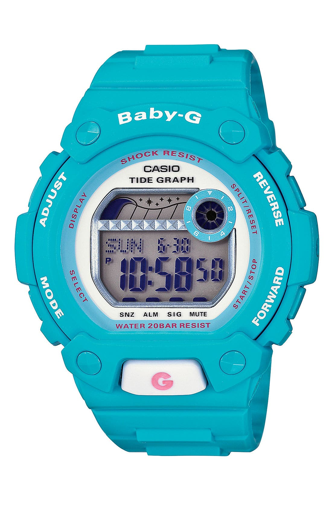 Main Image - Baby-G 'Tidegraph' Digital Watch, 44mm x 42mm