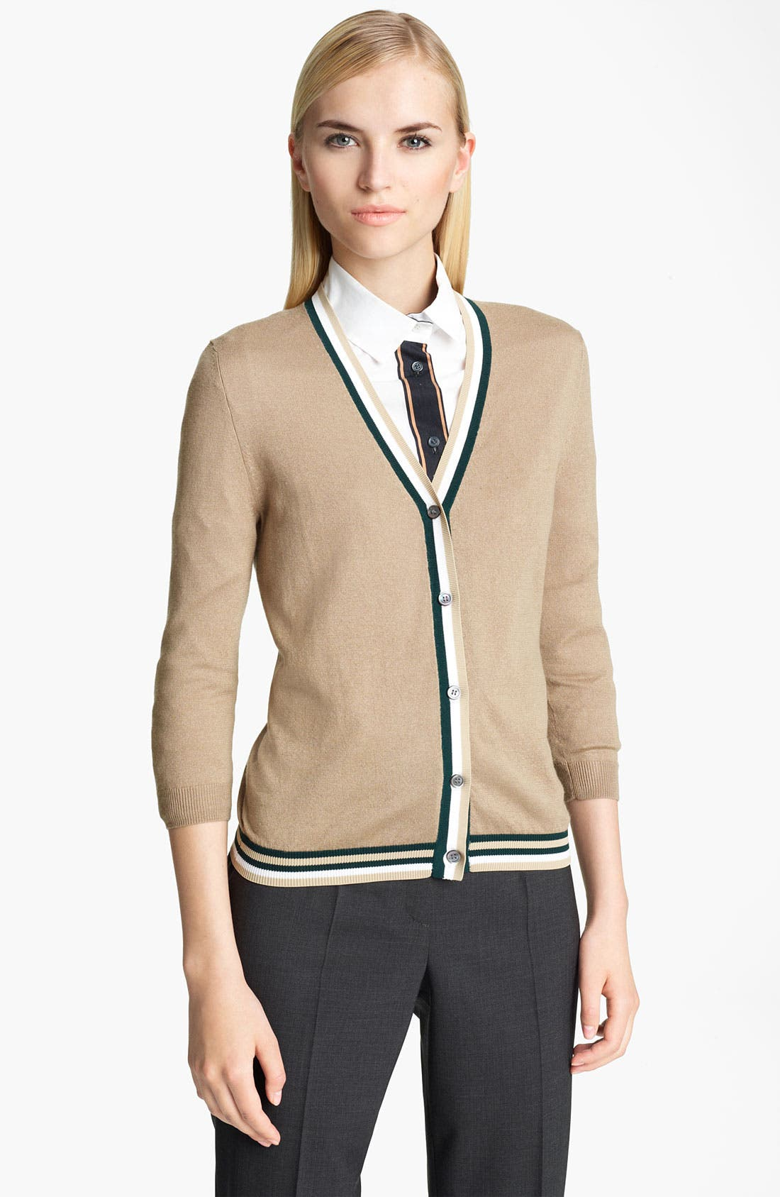 Alternate Image 1 Selected - Jil Sander Navy Contrast Stripe Trim Cardigan
