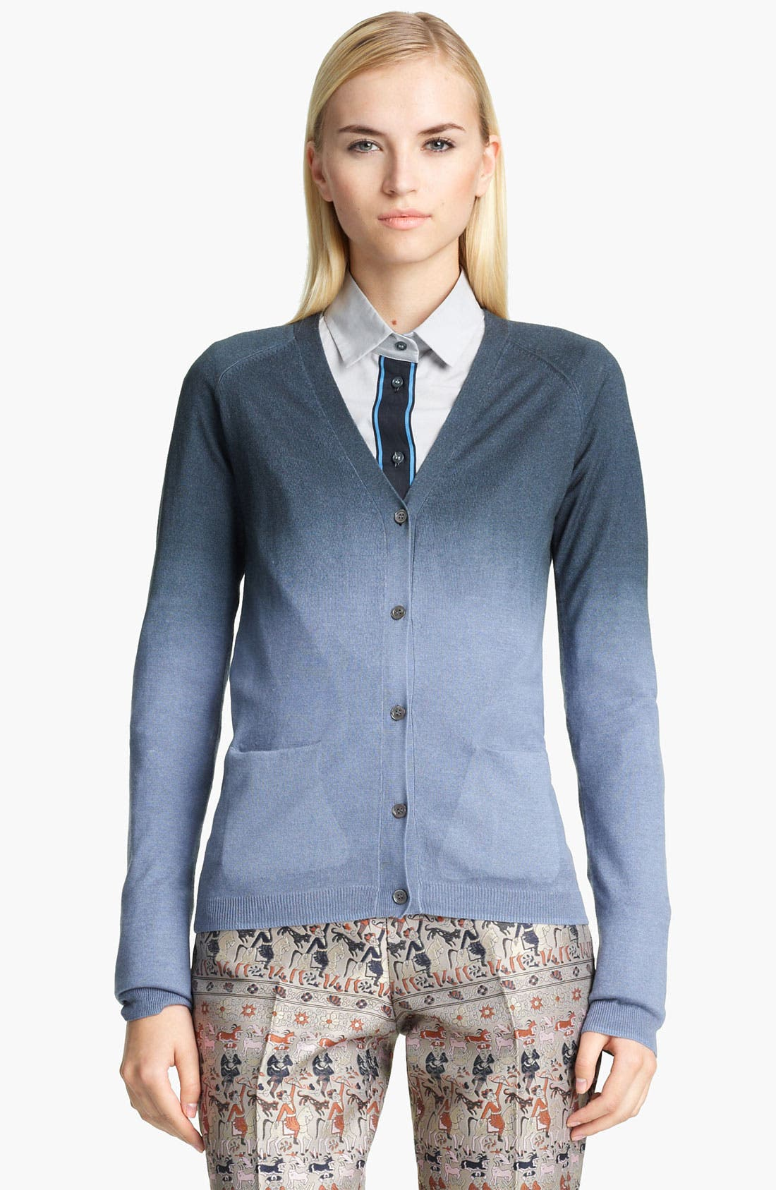 Alternate Image 1 Selected - Jil Sander Navy Dégradé Silk & Cashmere Cardigan