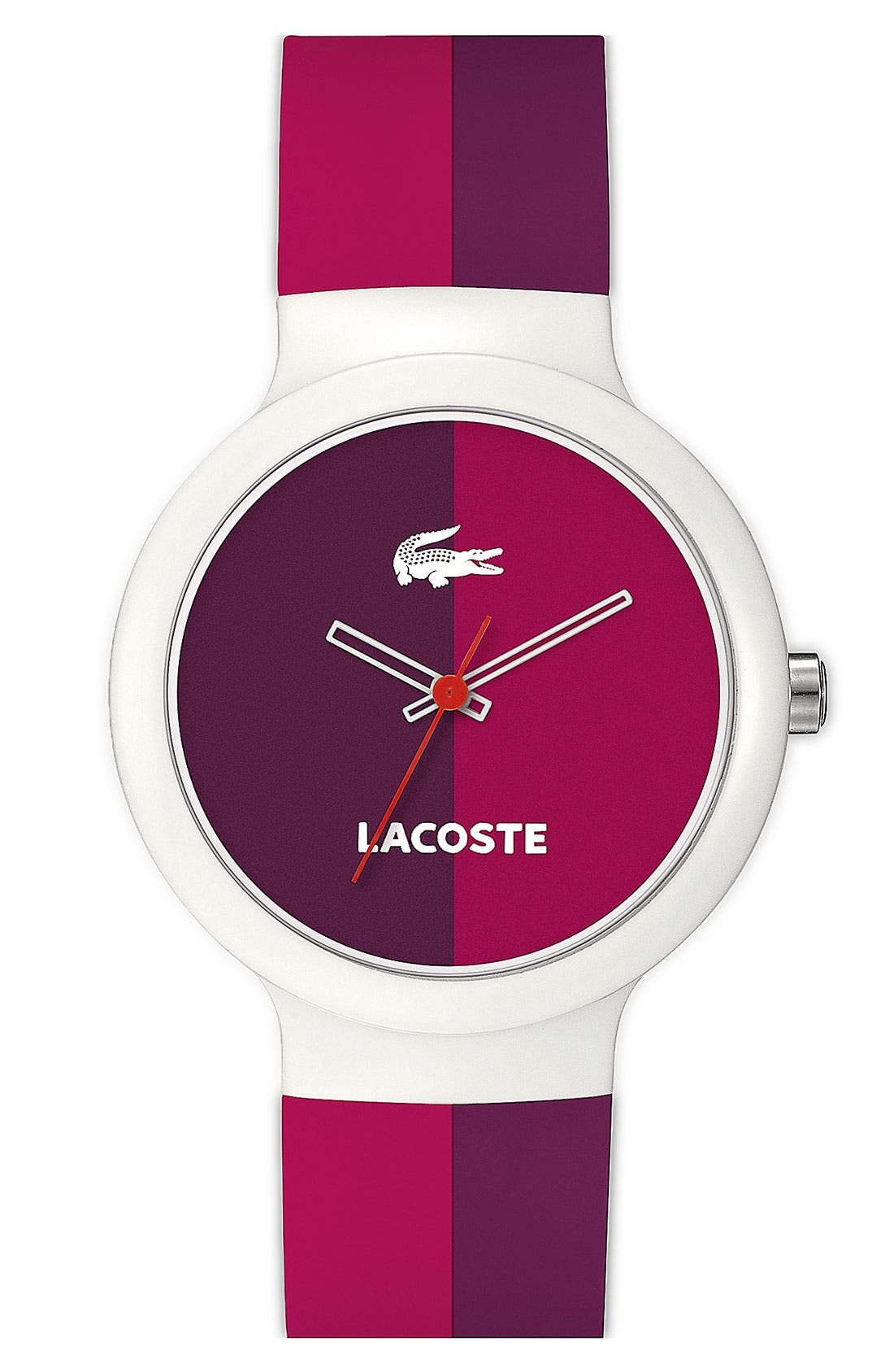 Main Image - Lacoste 'Goa' Stripe Silicone Strap Watch, 40mm