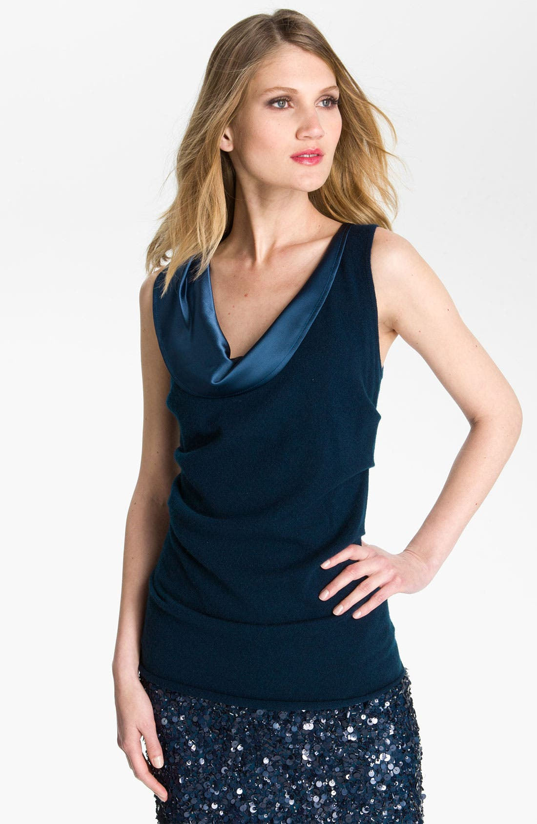 Alternate Image 1 Selected - St. John Collection Satin Trim Cashmere Shell