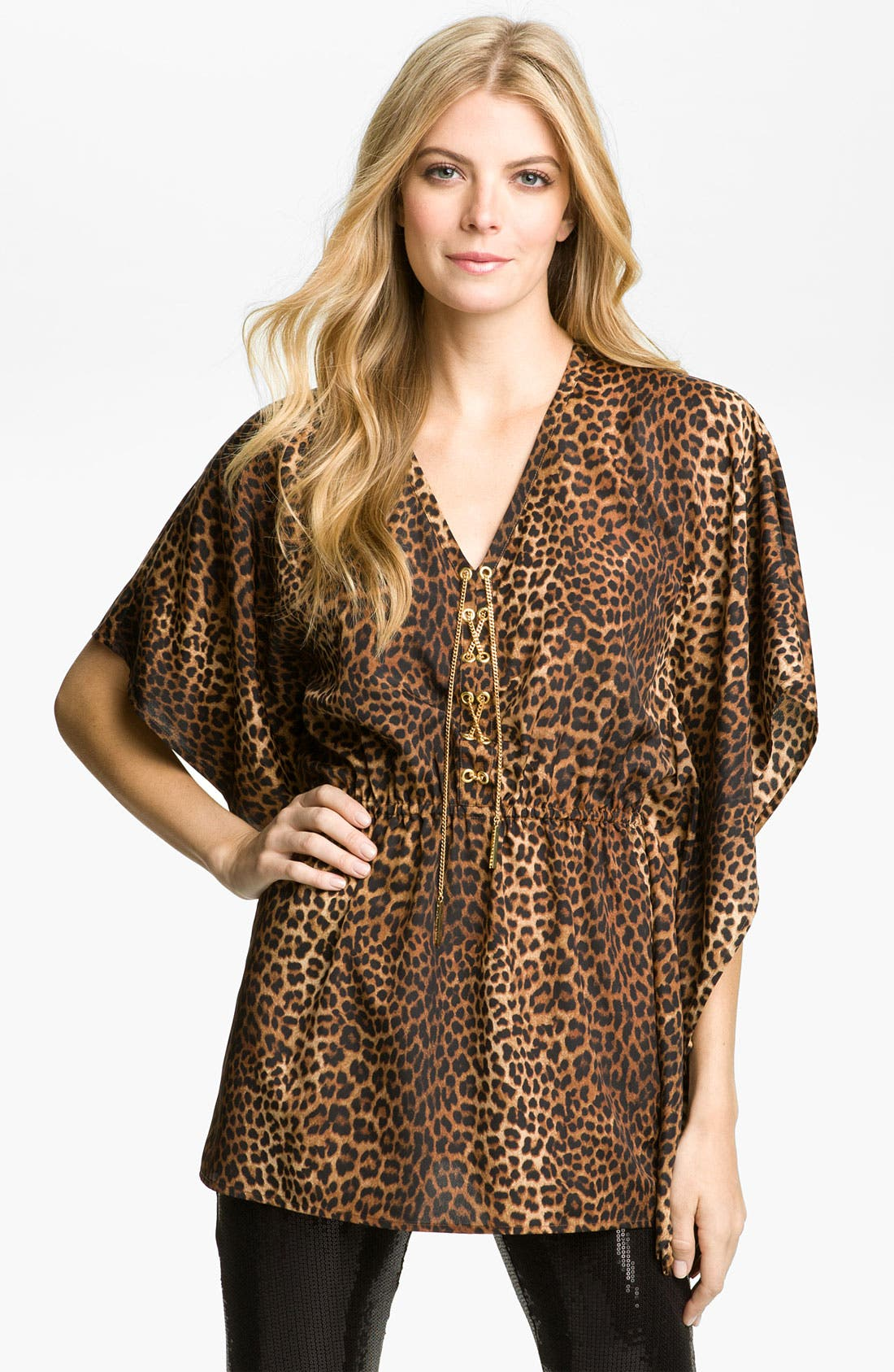 Alternate Image 1 Selected - MICHAEL Michael Kors Chain Lace Flutter Sleeve Tunic