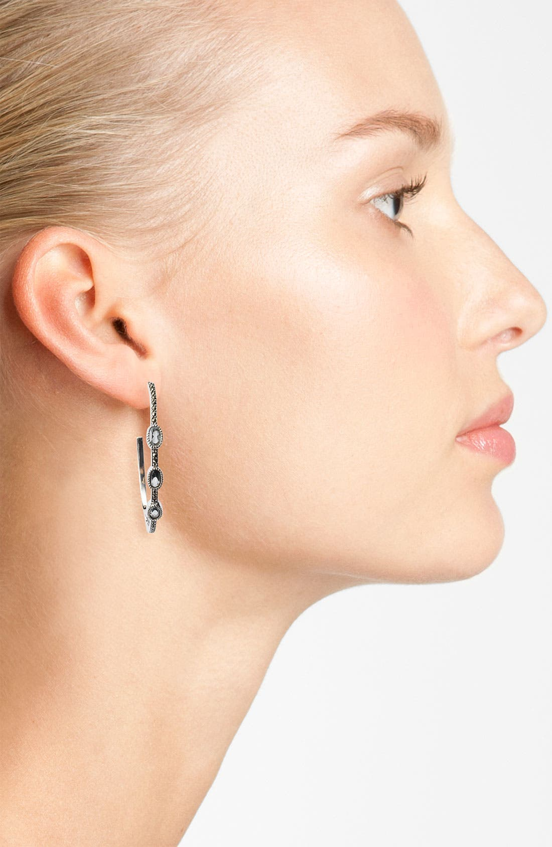 Alternate Image 2  - Judith Jack Stone Hoop Earrings