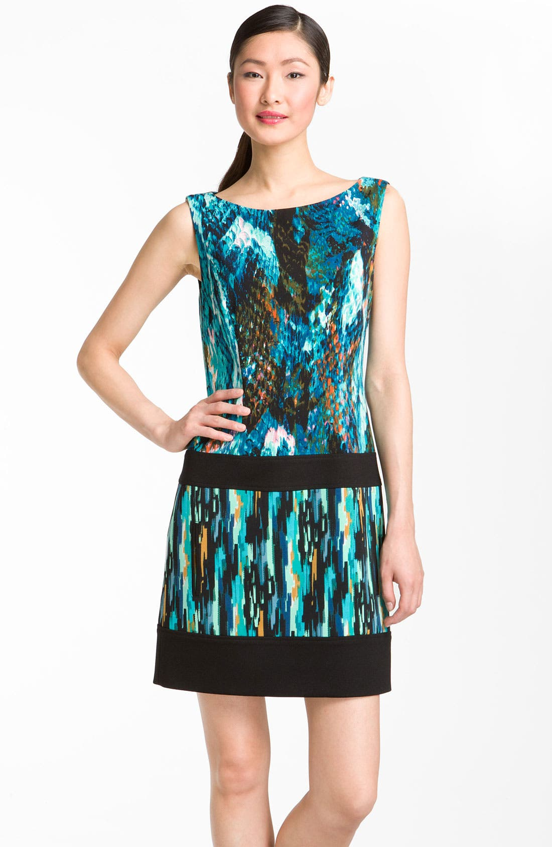 Main Image - Laundry by Shelli Segal Mixed Print Boatneck Dress