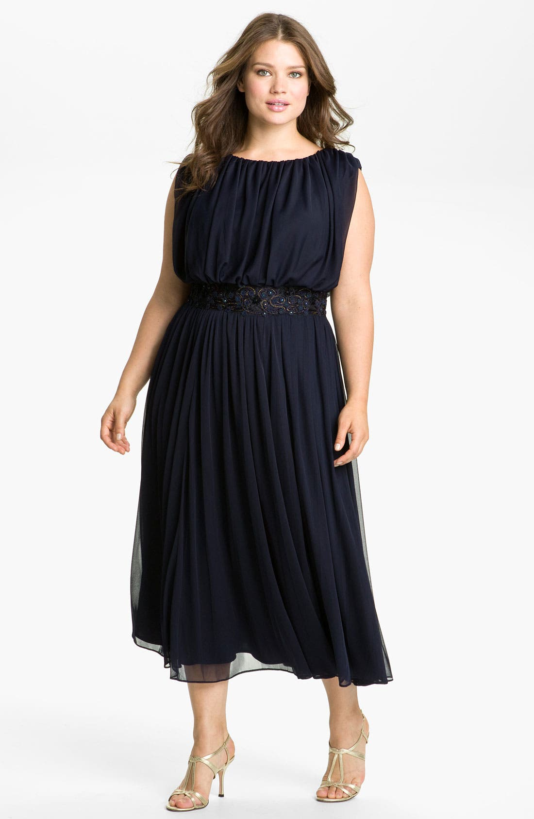 Main Image - Alex Evenings Blouson Mesh Midi Gown (Plus Size)