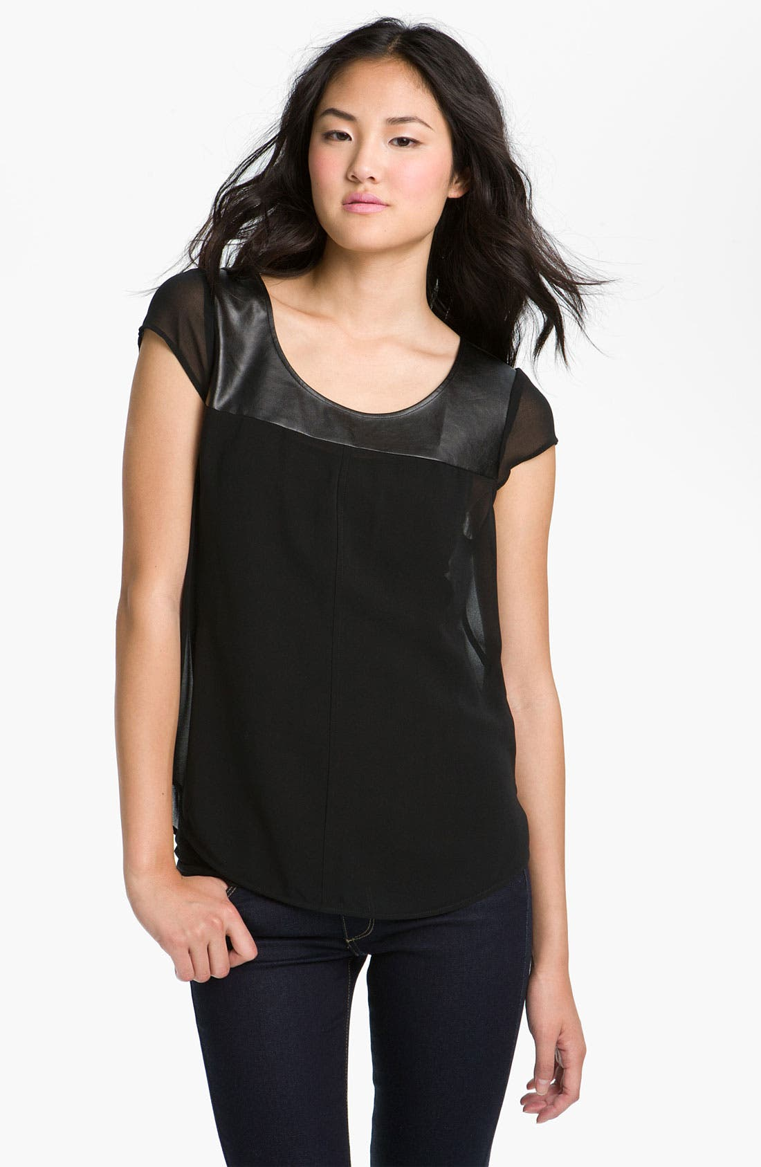 Main Image - Trouvé Faux Leather Bib Top