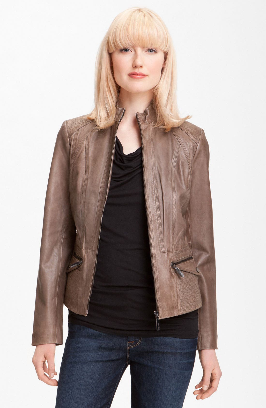 Main Image - Bernardo Topstitch Leather Jacket