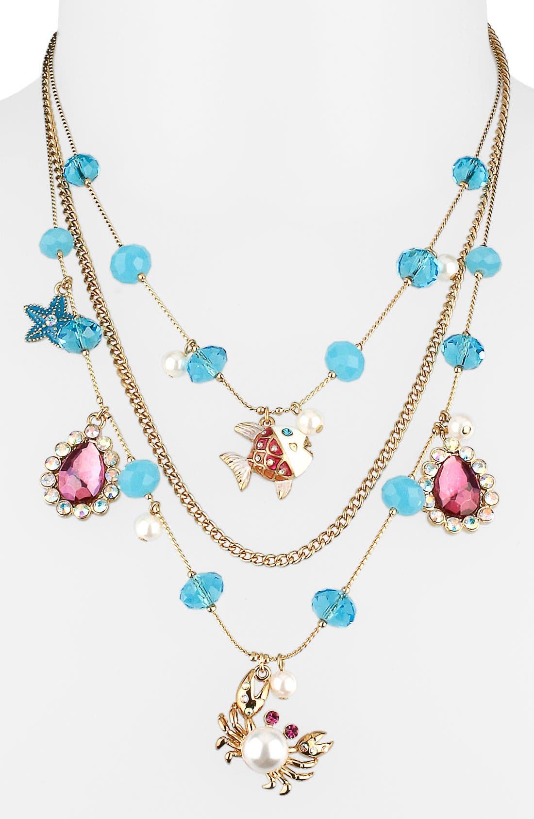 Main Image - Betsey Johnson 'Sea Excursion' Triple Strand Illusion Necklace
