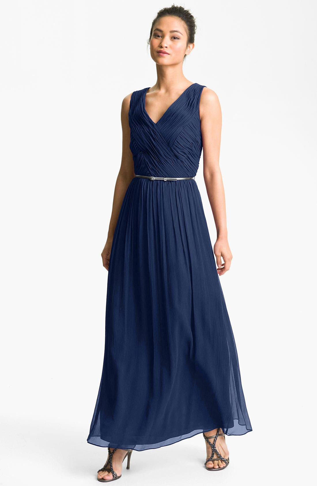 Main Image - Donna Morgan Belted Silk Chiffon Gown