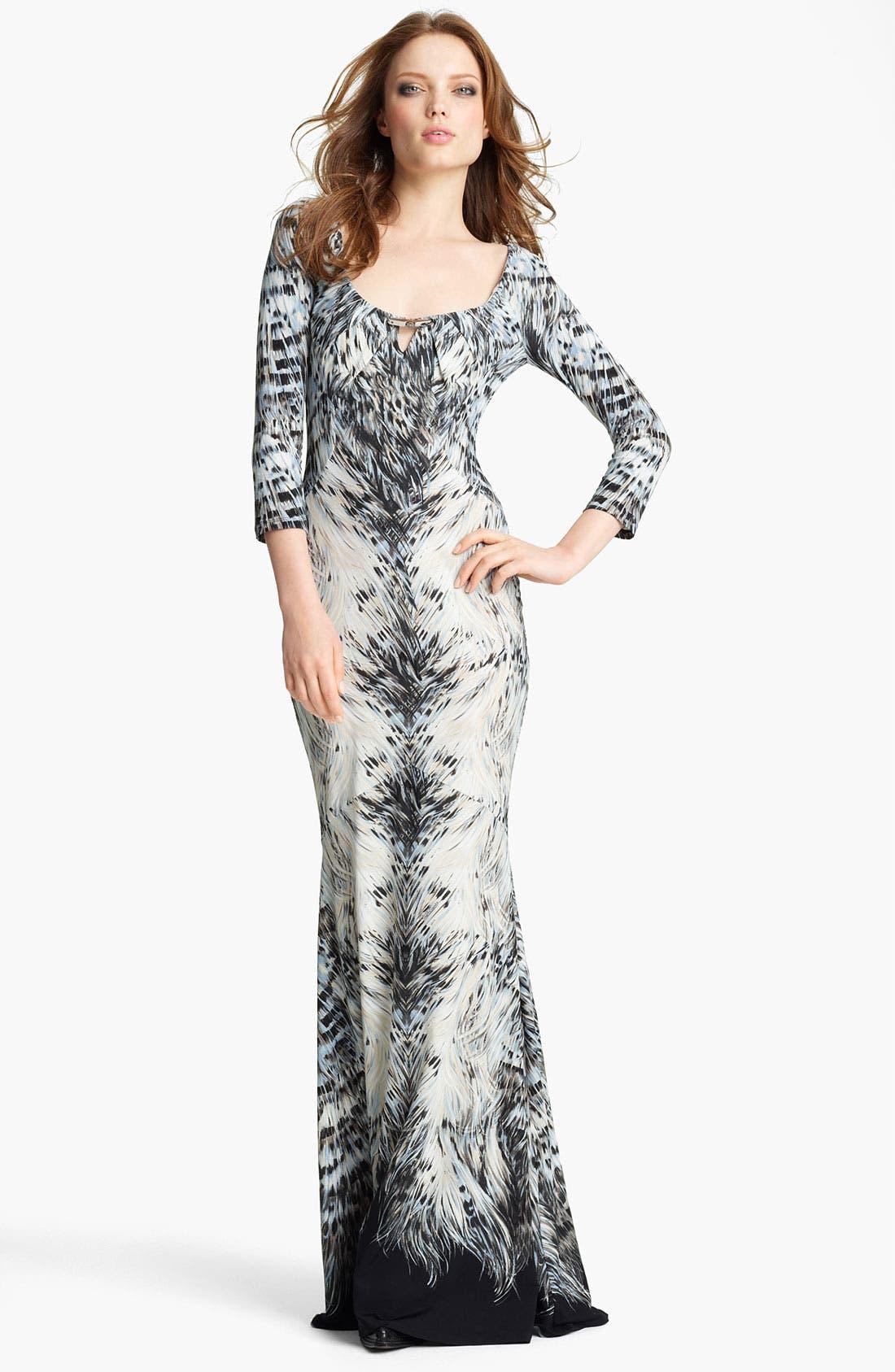Main Image - Roberto Cavalli Print Jersey Fishtail Gown