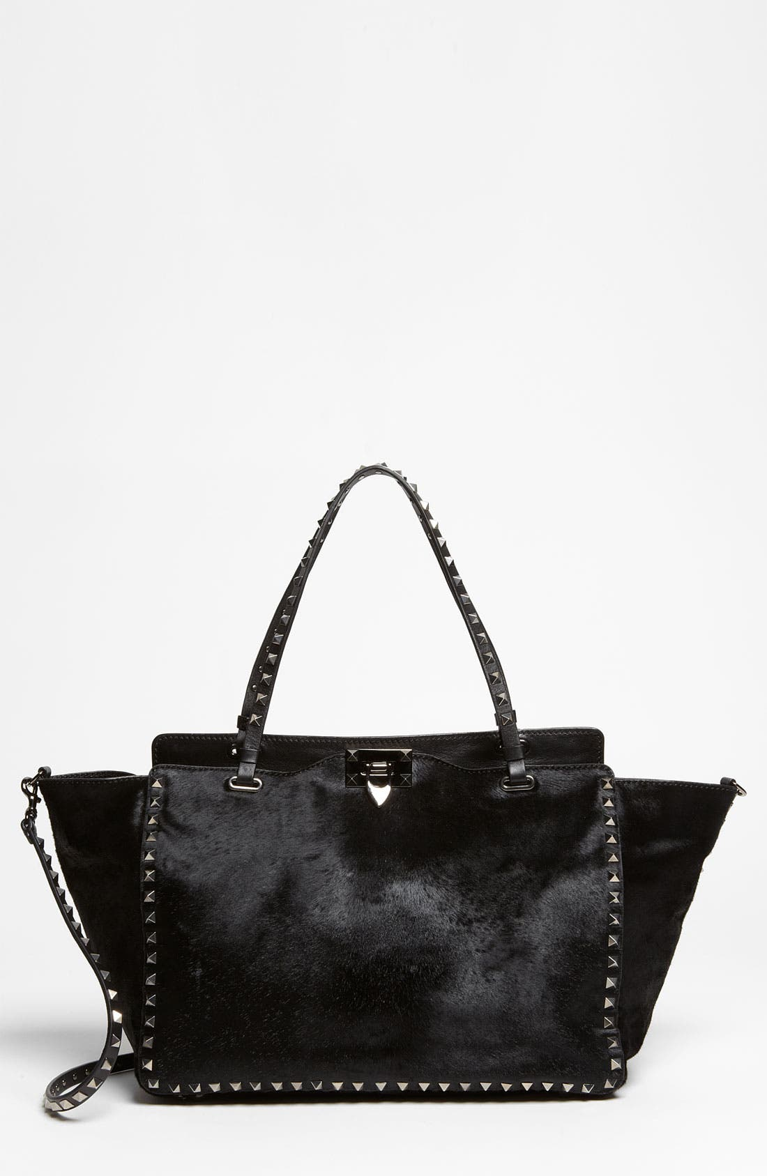 Main Image - Valentino 'Rockstud - Noir' Calf Hair Shopper
