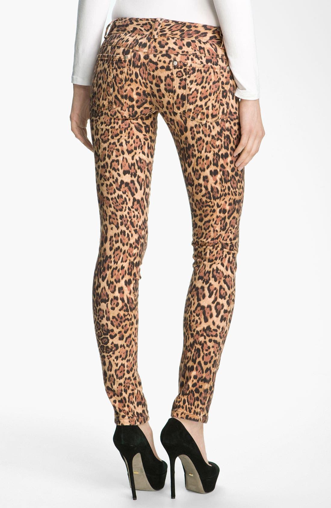 Alternate Image 1 Selected - Alice + Olivia Jaguar Print Skinny Jeans