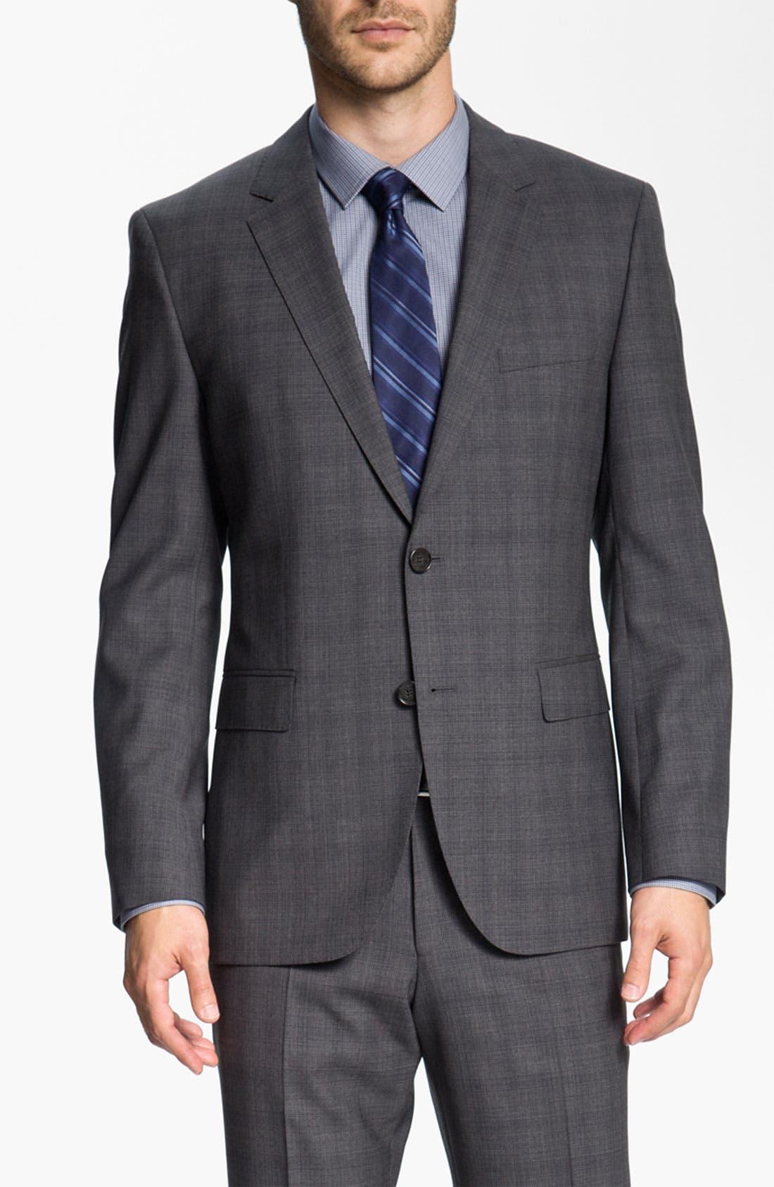 Alternate Image 1 Selected - BOSS Black 'James/Sharp' Trim Fit Plaid Suit