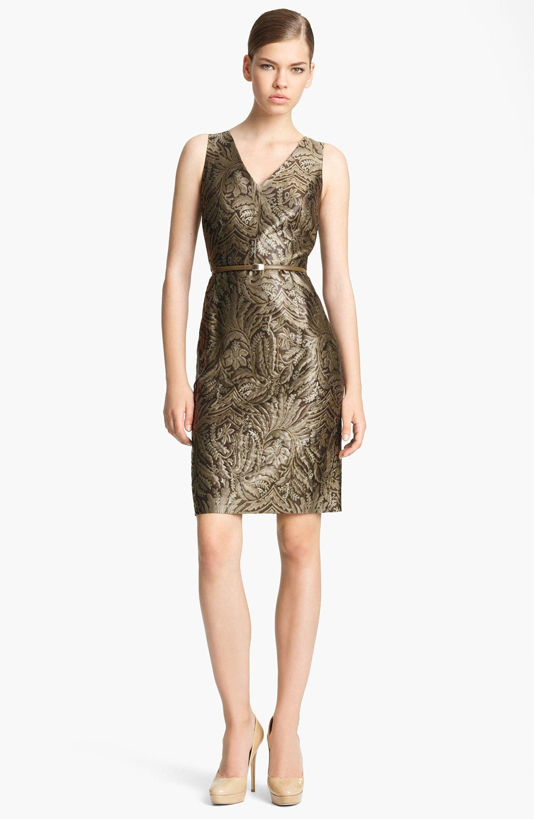 Main Image - Max Mara 'Cera' Belted Floral Brocade Dress