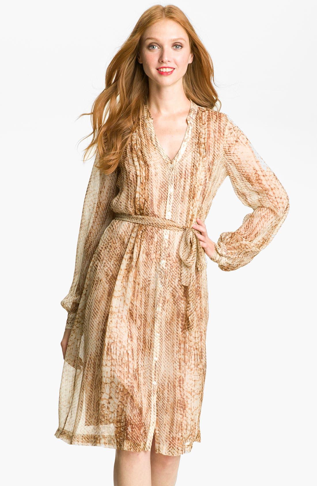 Main Image - Lucky Brand 'Snakes Eyes' Silk Chiffon Shirtdress