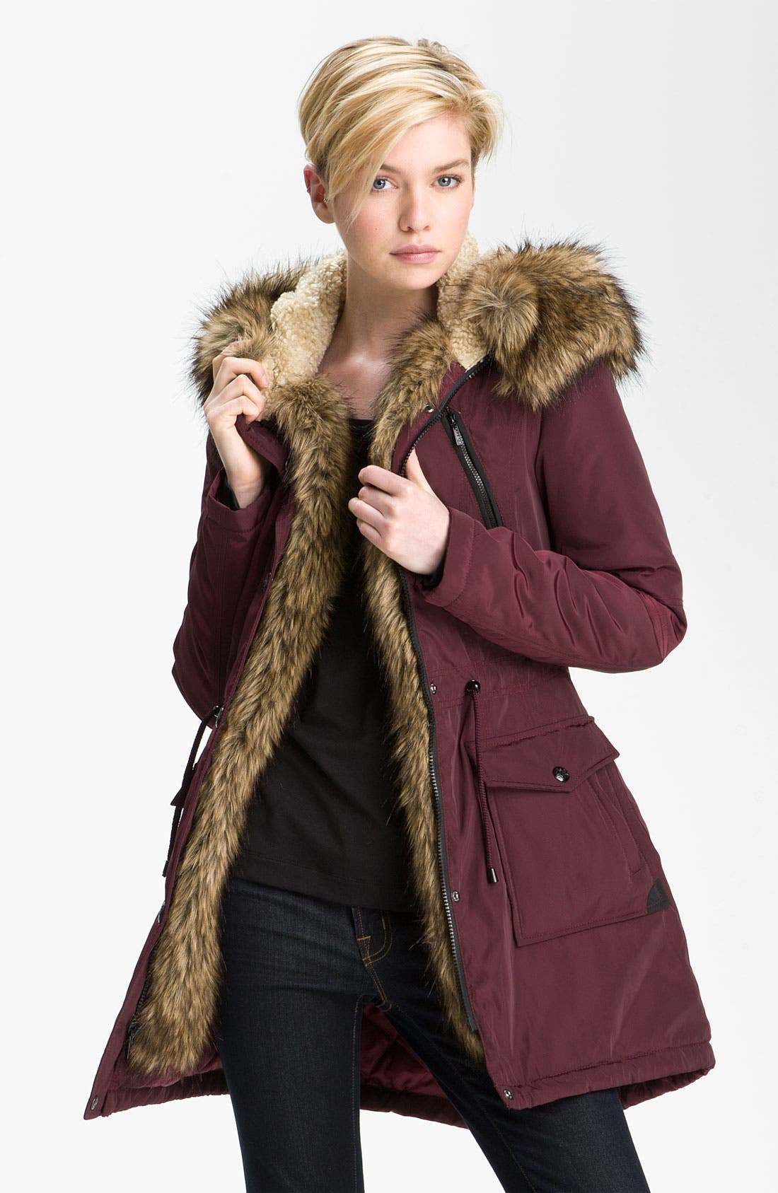 Main Image - Laundry by Shelli Segal Faux Fur Trim Anorak