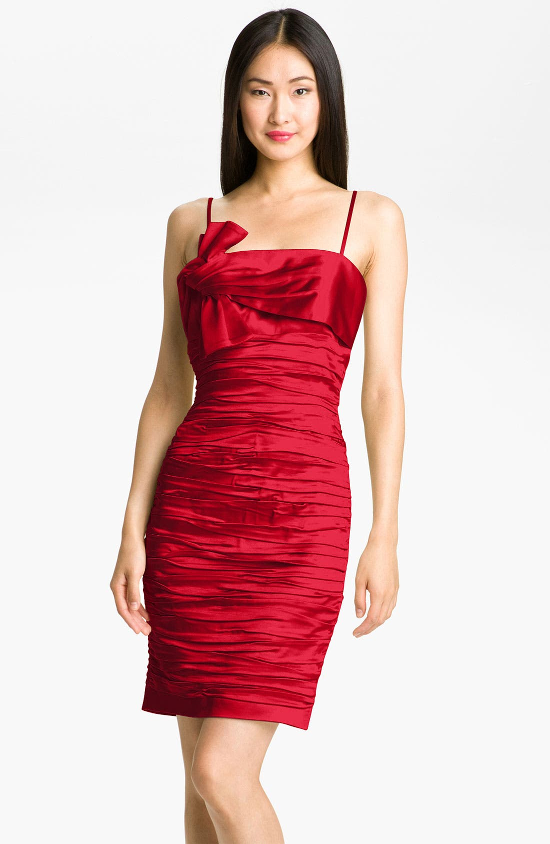 Alternate Image 1 Selected - Calvin Klein Ruched Satin Sheath Dress