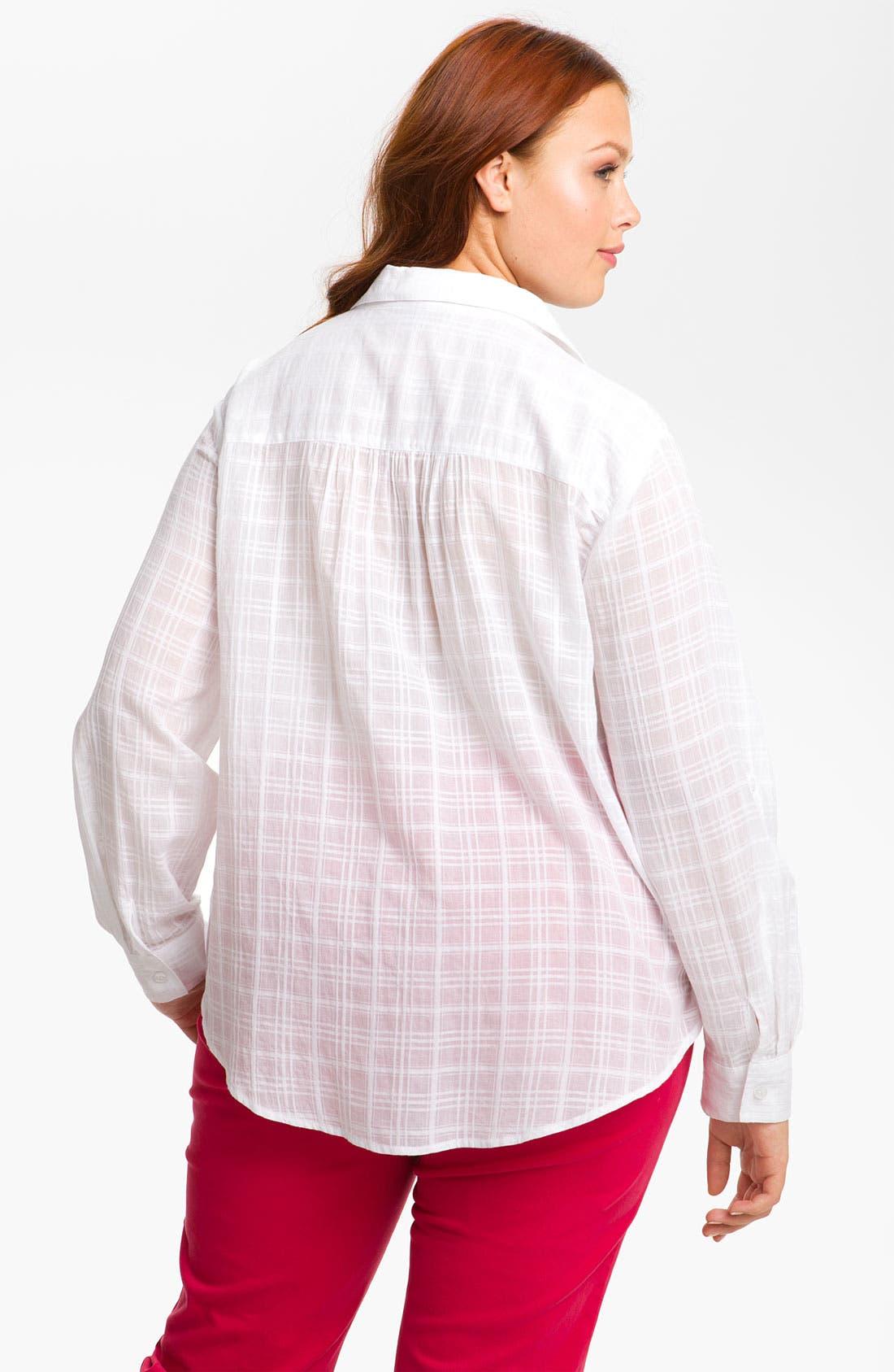 Alternate Image 2  - Sandra Ingrish Roll Sleeve Shadow Plaid Shirt (Plus)