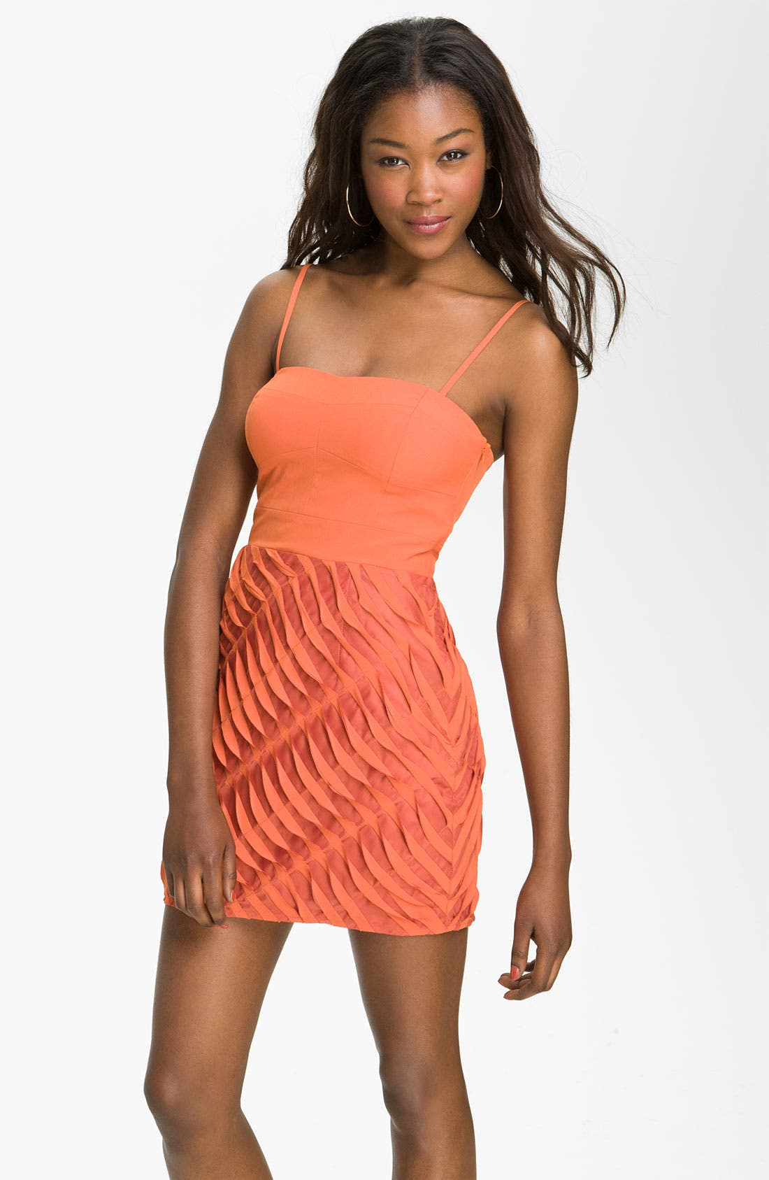 Alternate Image 1 Selected - En Crème Strapless Dress with Koi Ruffle Skirt (Juniors)