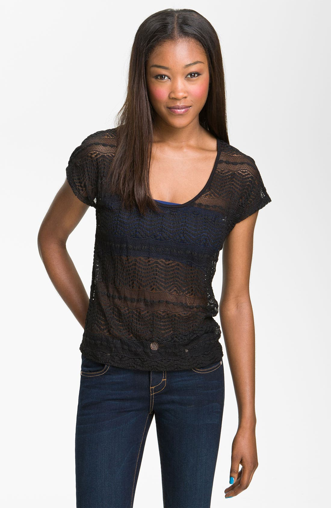Alternate Image 1 Selected - Painted Threads Scalloped Lace Tee (Juniors)