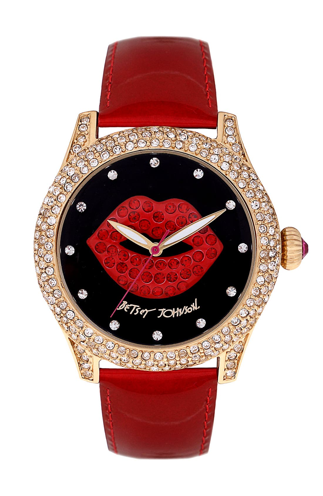Alternate Image 1 Selected - Betsey Johnson Graphic Dial Leather Strap Watch