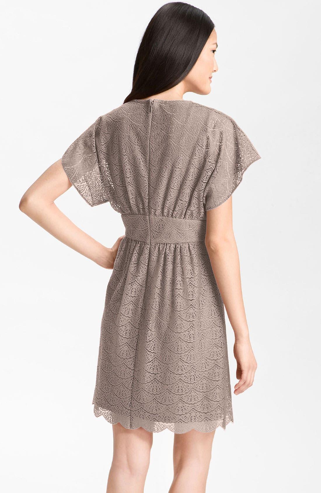 Alternate Image 2  - Adrianna Papell Dolman Sleeve Lace Overlay Dress