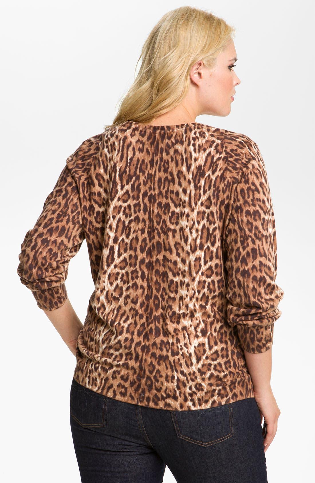 Alternate Image 2  - Lucky Brand Cheetah Print Cardigan (Plus)