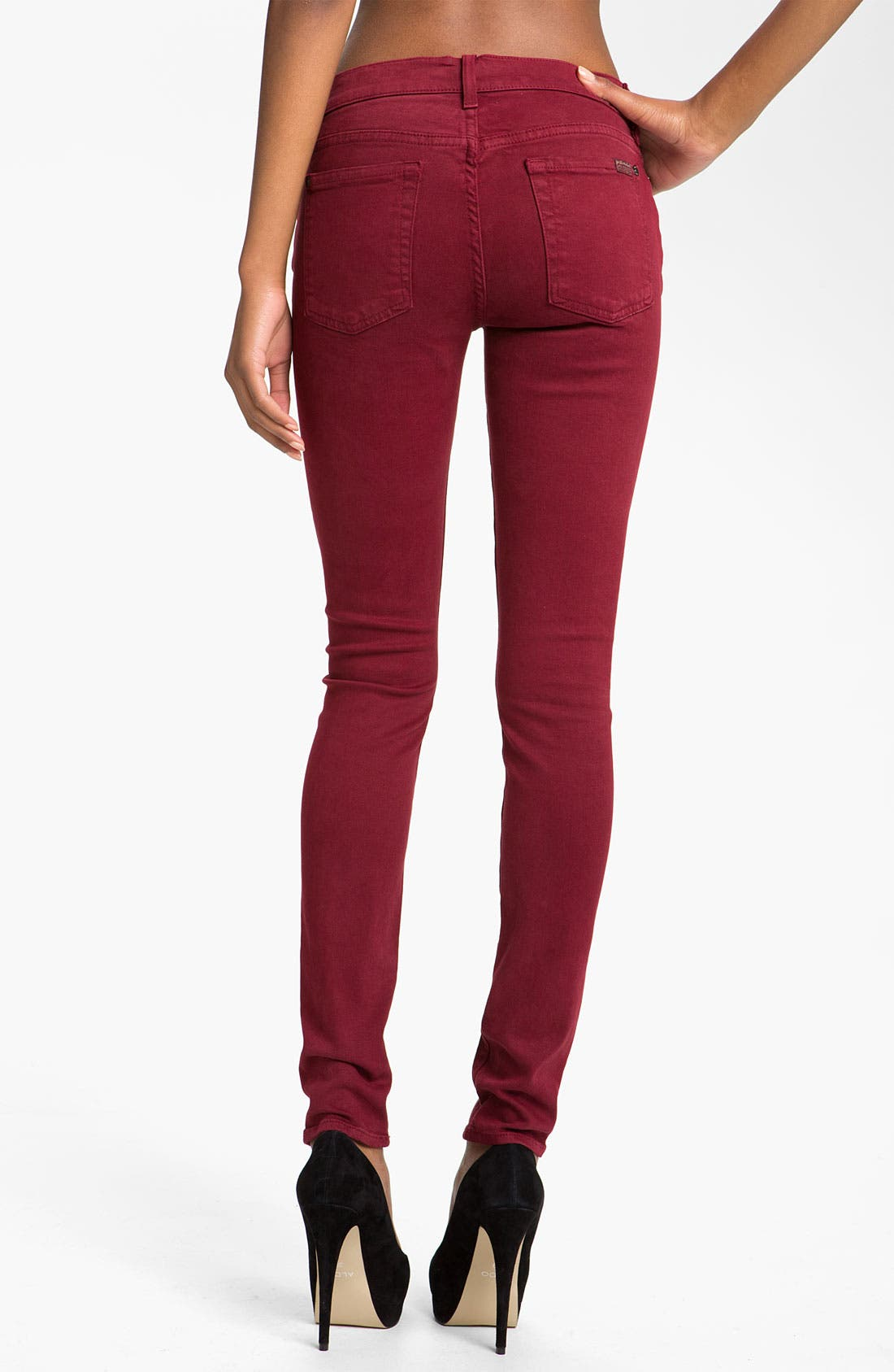 Alternate Image 2  - 7 For All Mankind® 'Slim Illusion' Overdyed Skinny Stretch Jeans (Port)
