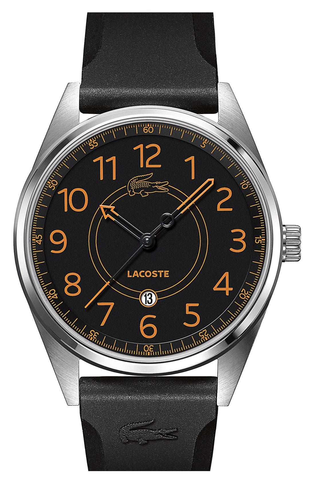 Main Image - Lacoste 'Zaragoza' Round Silicone Strap Watch