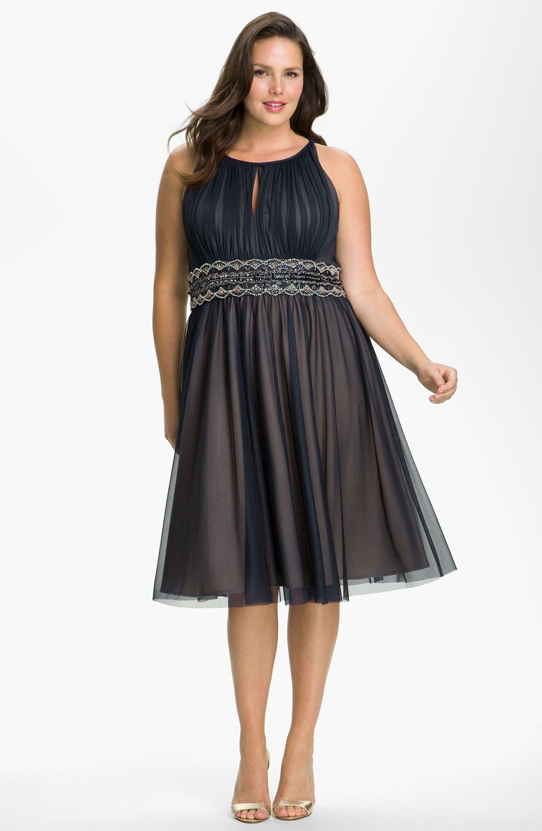 Main Image - JS Boutique Beaded Mesh Dress (Plus)