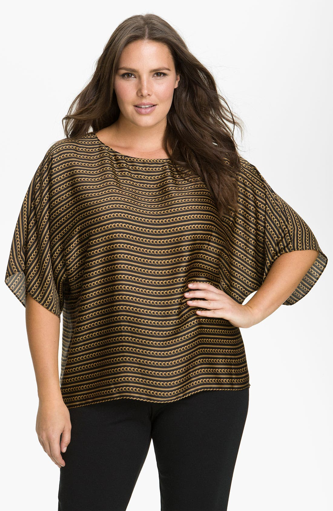 Alternate Image 1 Selected - MICHAEL Michael Kors 'Striped Chain' Dolman Sleeve Top (Plus)