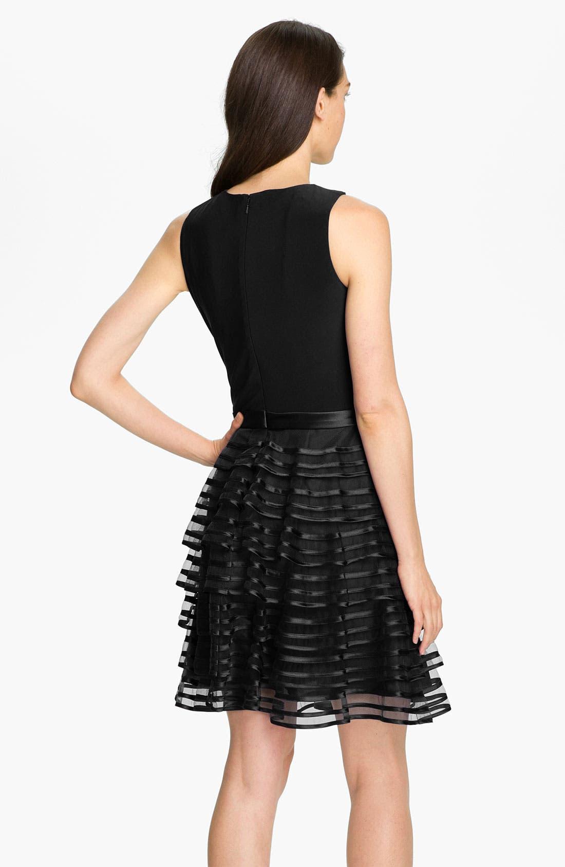 Alternate Image 2  - Kathy Hilton Tiered Skirt Mixed Media Dress