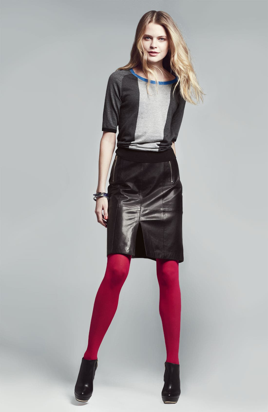 Alternate Image 2  - Halogen® Seamed Leather Pencil Skirt