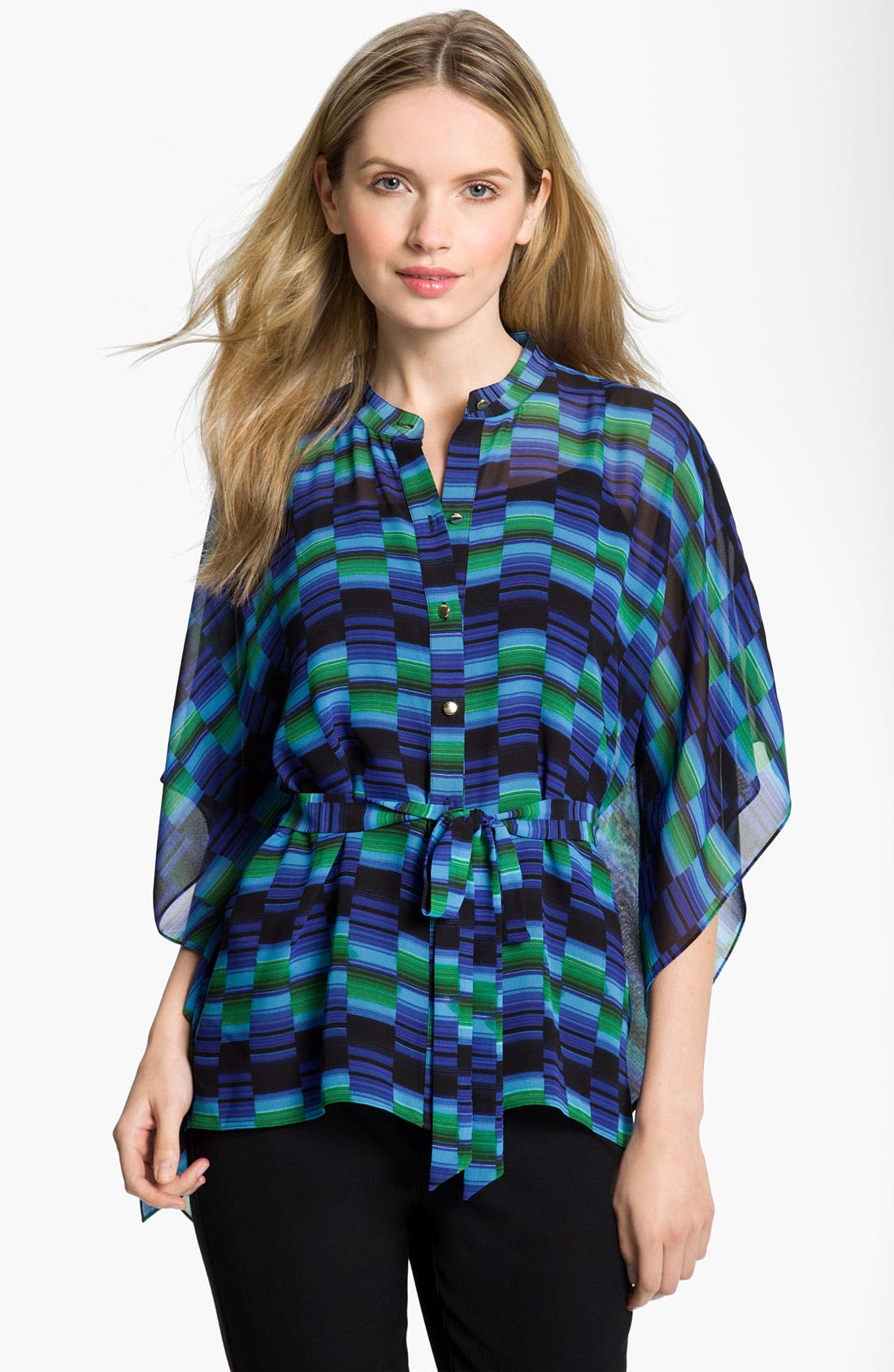 Main Image - Chaus Belted Geometric Print Poncho Blouse