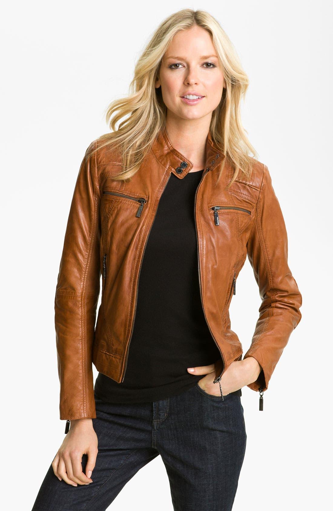 Alternate Image 1 Selected - Bernardo Quilted Trim Leather Scuba Jacket