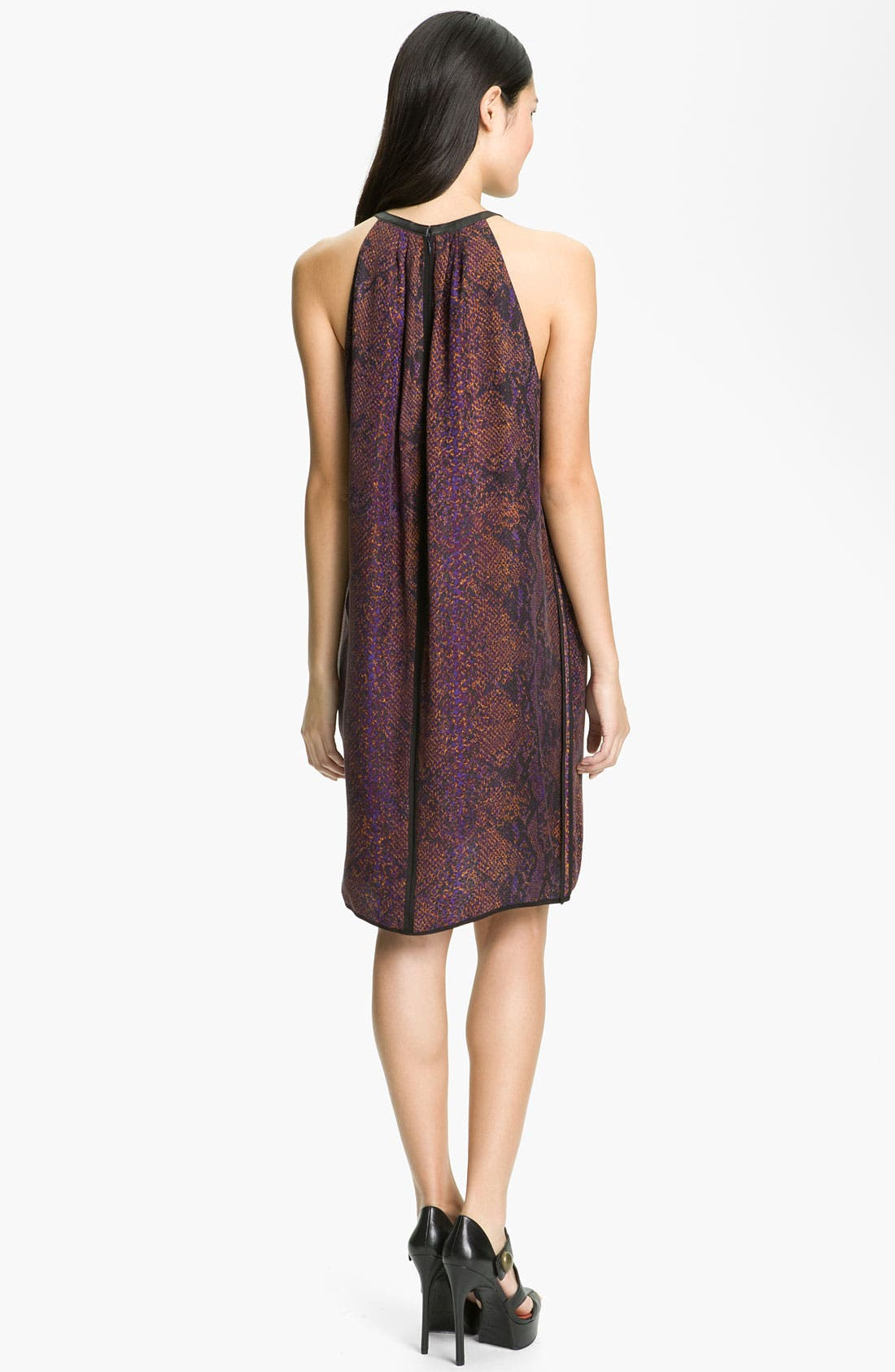 Alternate Image 2  - Rebecca Taylor 'Python' Print Silk Halter Dress