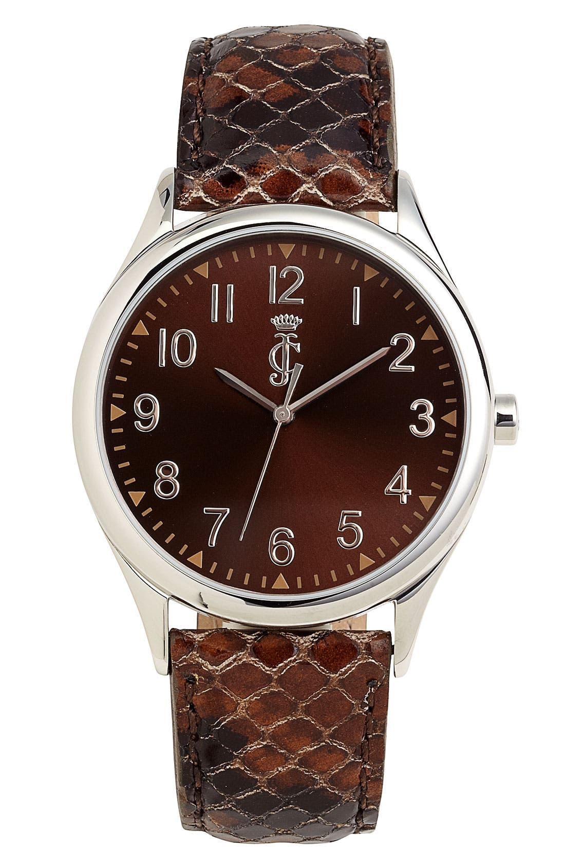 Main Image - Juicy Couture Round Leather Strap Watch