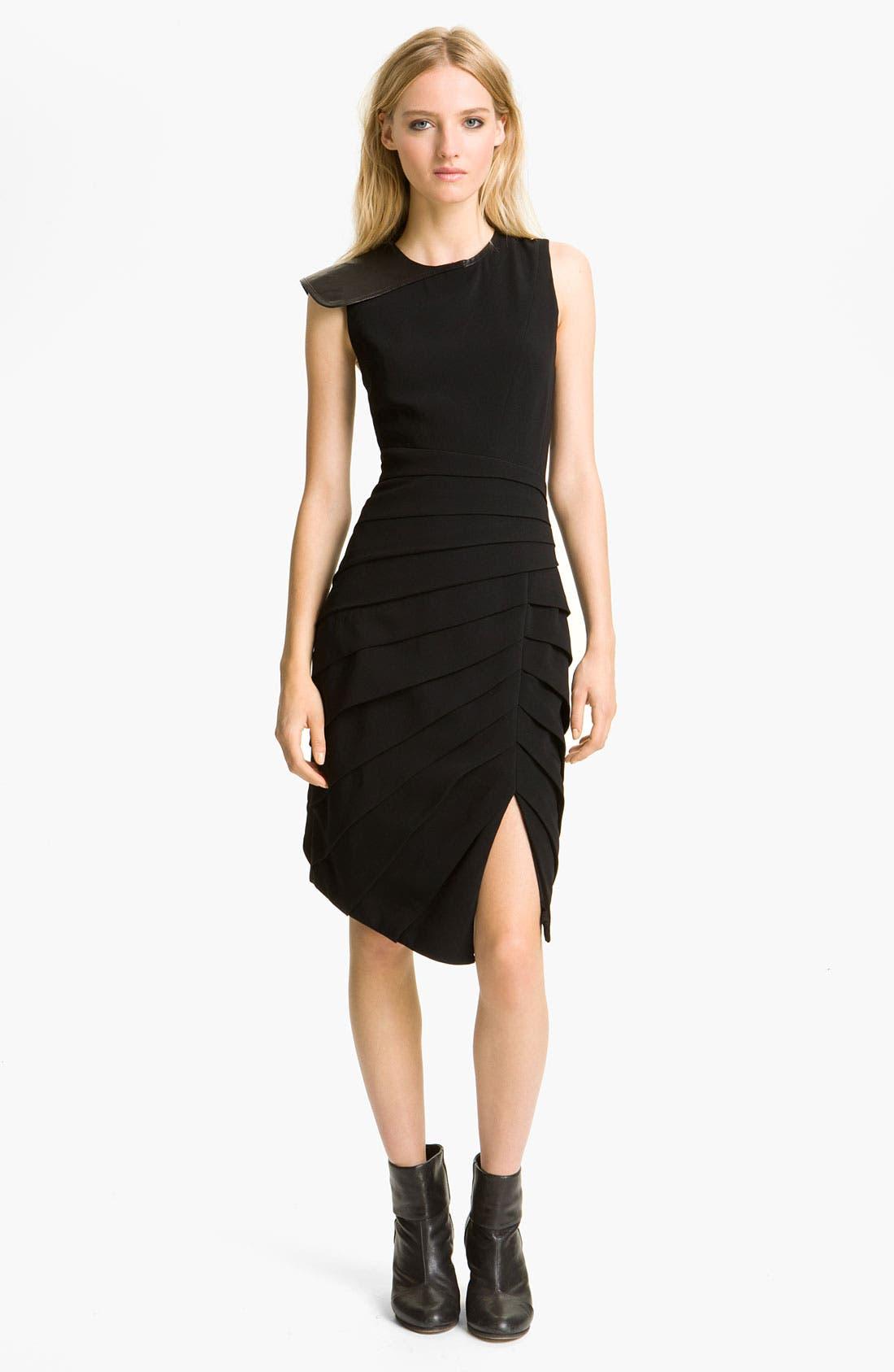 Main Image - rag & bone 'Origami' Leather Trim Dress