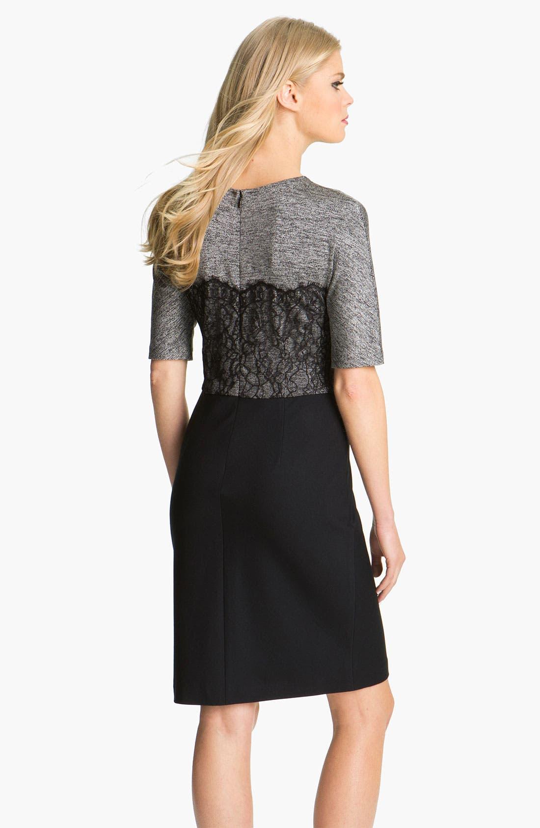 Alternate Image 2  - Suzi Chin for Maggy Boutique Mixed Media Sheath Dress