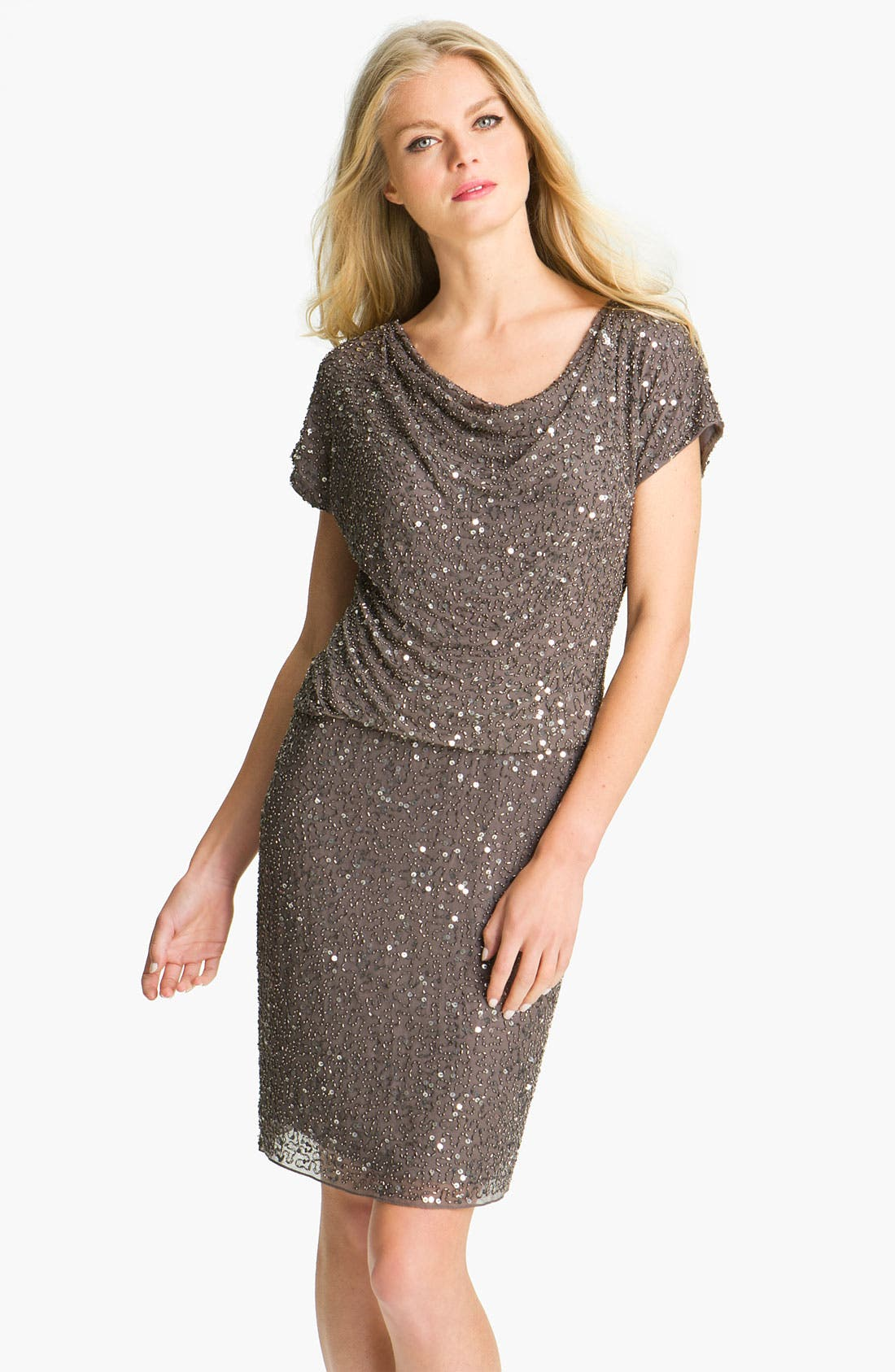 Main Image - Pisarro Nights Cowl Neck Embellished Silk Dress