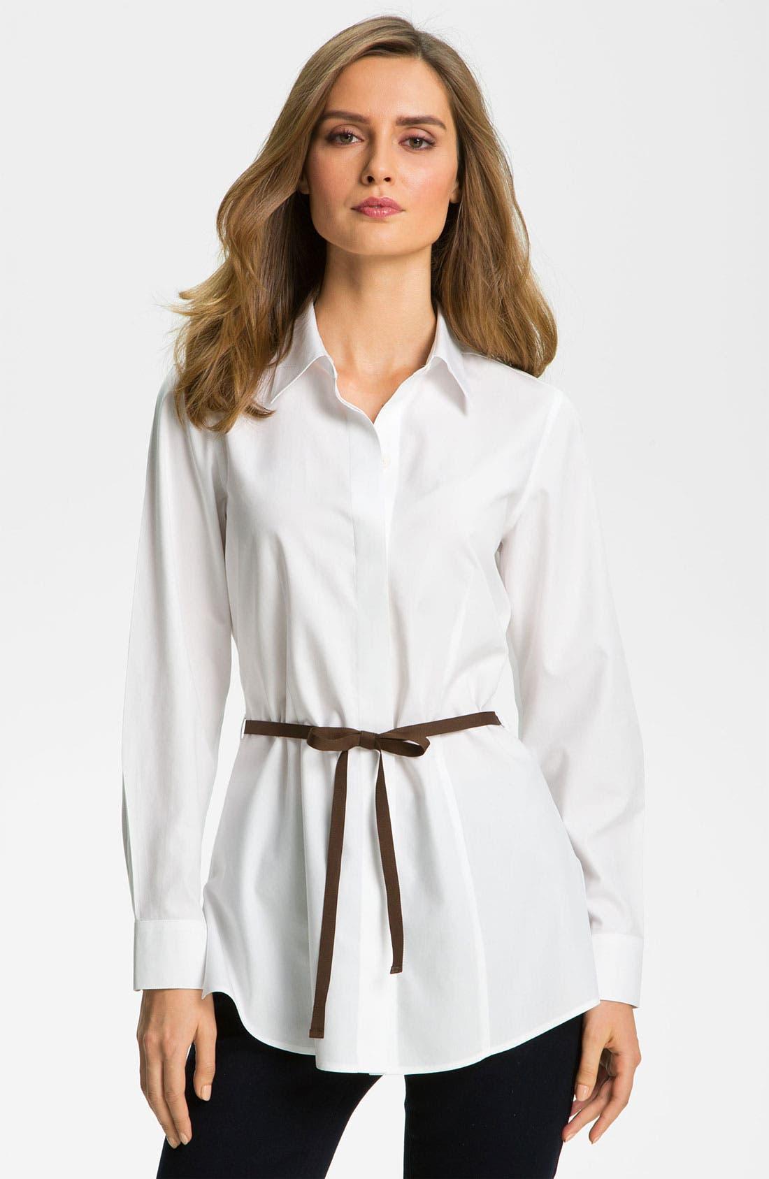 Main Image - Foxcroft Belted Tunic Shirt