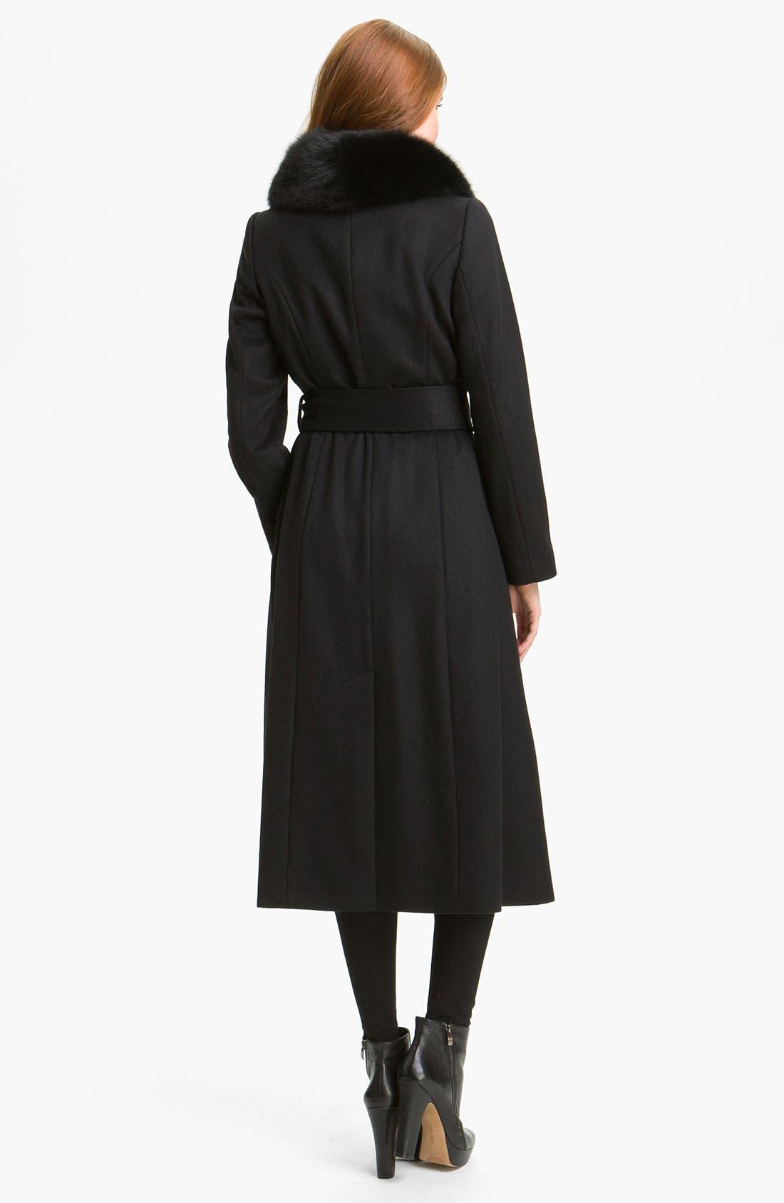 Alternate Image 2  - George Simonton Couture Genuine Fox Fur Trim Wrap Coat