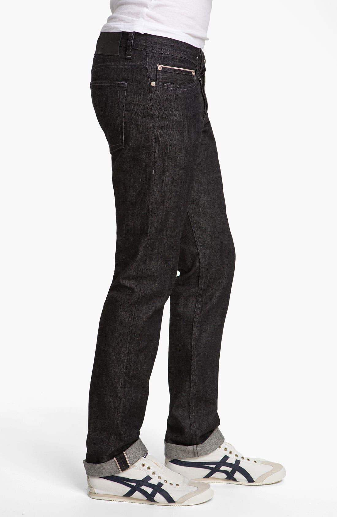 Alternate Image 3  - Naked & Famous Denim 'Weird Guy' Slim Fit Selvedge Jeans (Black)