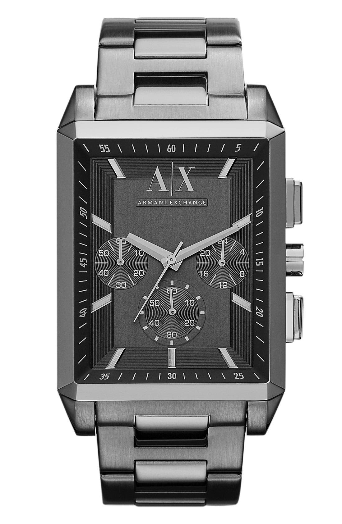 Alternate Image 1 Selected - AX Armani Exchange Rectangular Chronograph Bracelet Watch