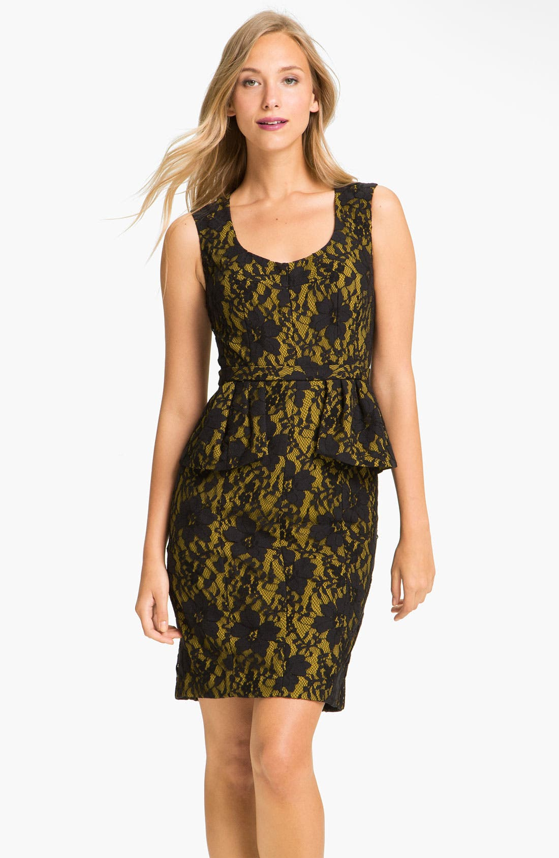 Main Image - BCBGMAXAZRIA Lace Overlay Peplum Sheath Dress