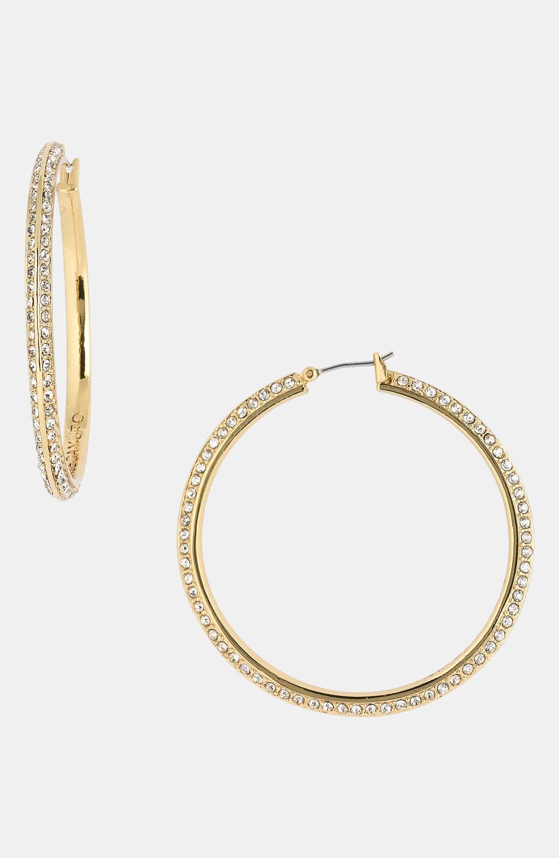 Alternate Image 1 Selected - Vince Camuto Crystal Hoop Earrings