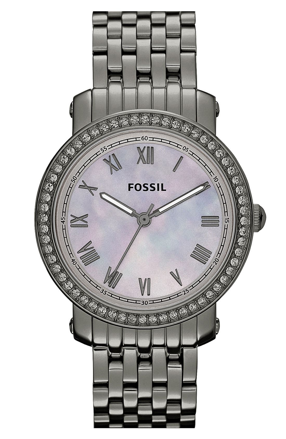 Main Image - Fossil 'Emma' Crystal Bezel Bracelet Watch, 38mm