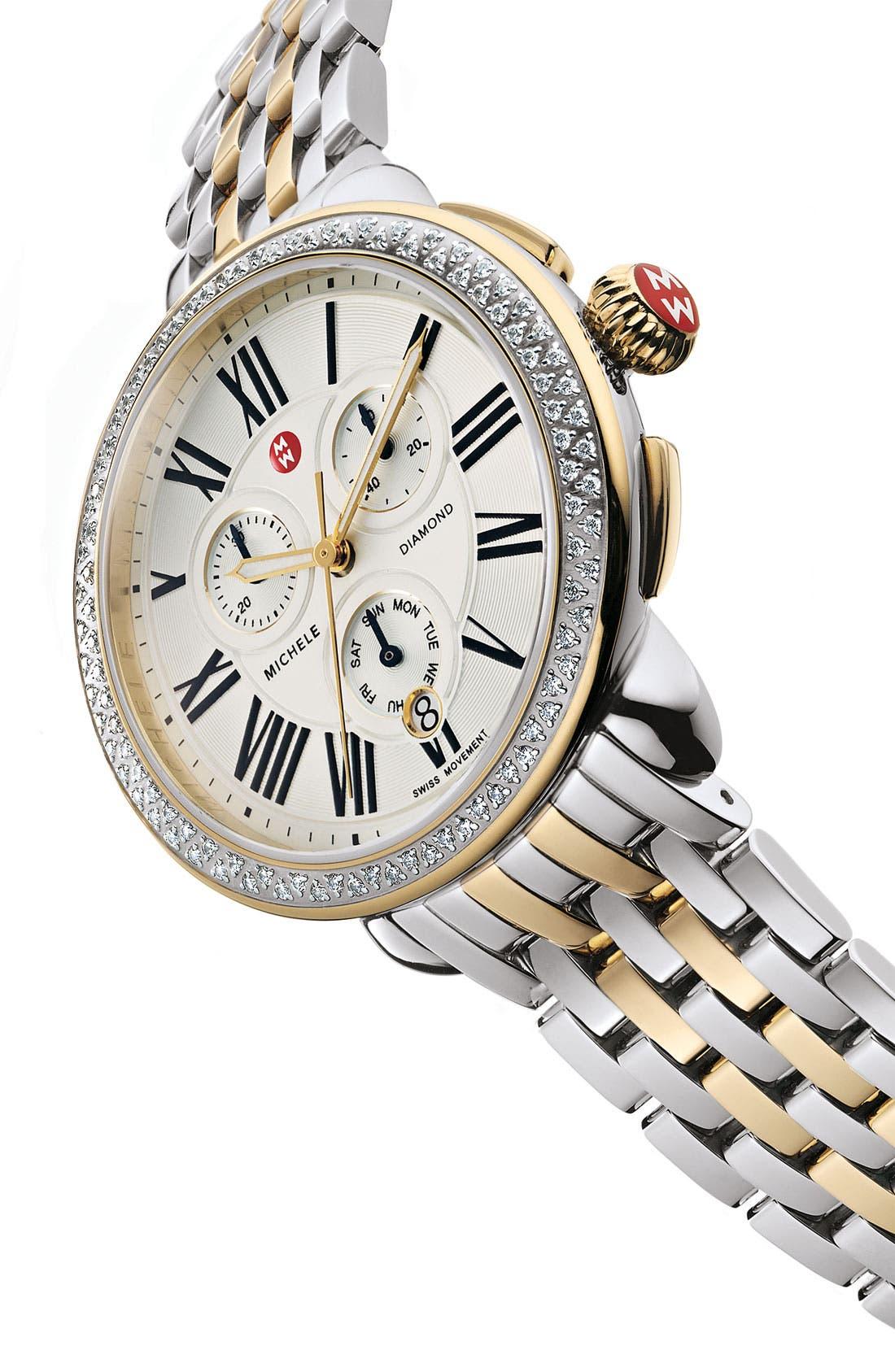 Alternate Image 2  - MICHELE 'Serein' Diamond Two-Tone Watch Case & 18mm Bracelet