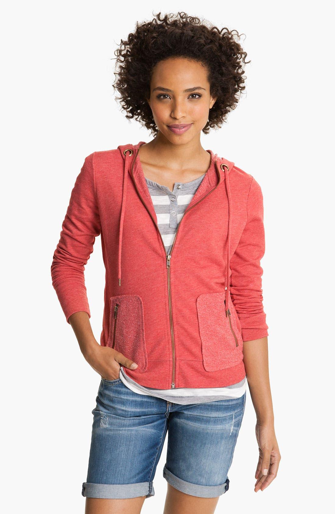 Main Image - Caslon® Zip Fleece Hoodie