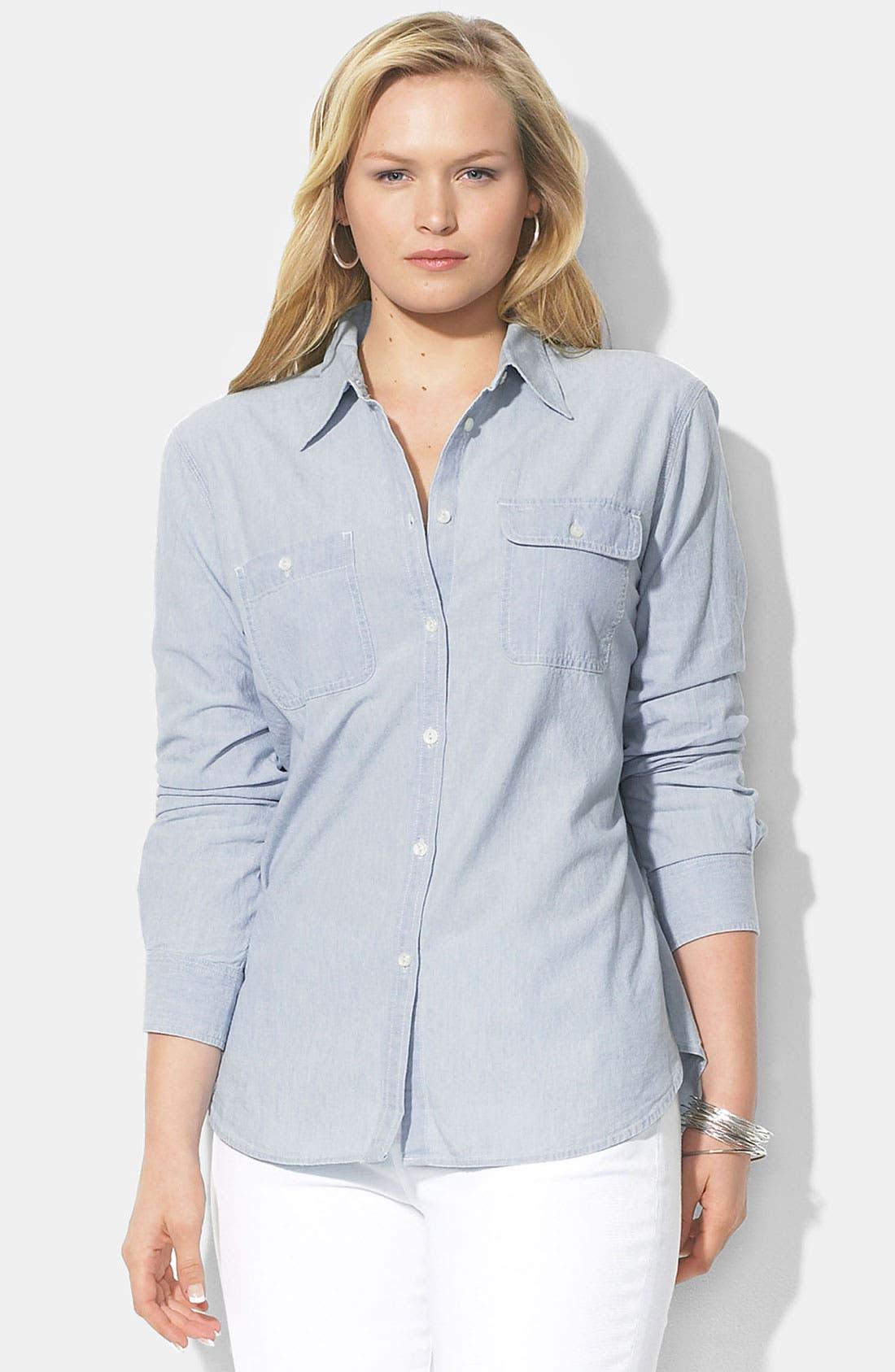 Alternate Image 1 Selected - Lauren Ralph Lauren Cotton Shirt (Plus)